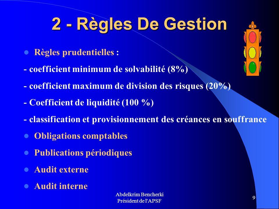 Abdelkrim Bencherki Président de l'APSF 9 2 - Règles De Gestion Règles prudentielles : - coefficient minimum de solvabilité (8%) - coefficient maximum