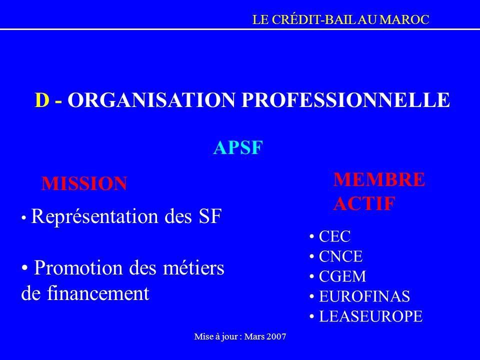 LE CRÉDIT-BAIL AU MAROC Mise à jour : Mars 2007 MEMBRE ACTIF CEC CNCE CGEM EUROFINAS LEASEUROPE Représentation des SF Promotion des métiers de finance