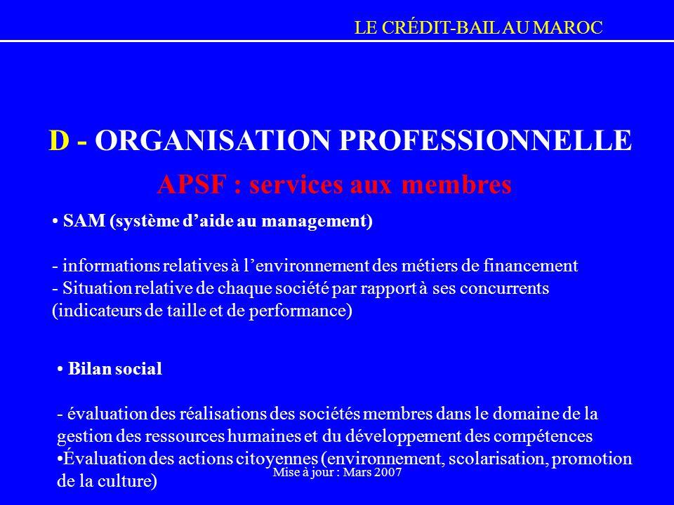 LE CRÉDIT-BAIL AU MAROC Mise à jour : Mars 2007 Bilan social - évaluation des réalisations des sociétés membres dans le domaine de la gestion des ress
