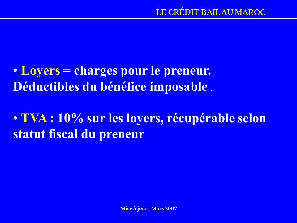 LE CRÉDIT-BAIL AU MAROC Mise à jour : Mars 2007 Loyers = charges pour le preneur. Déductibles du bénéfice imposable. TVA : 10% sur les loyers, récupér
