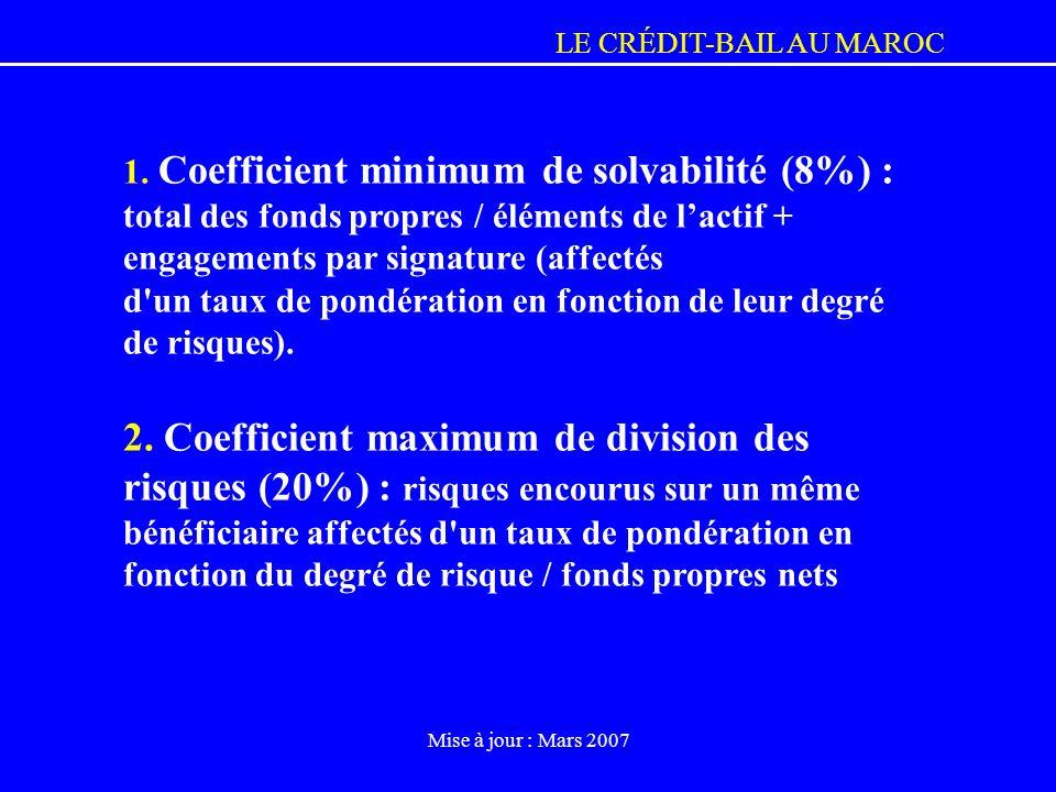 LE CRÉDIT-BAIL AU MAROC Mise à jour : Mars 2007 1. Coefficient minimum de solvabilité (8%) : total des fonds propres / éléments de lactif + engagement