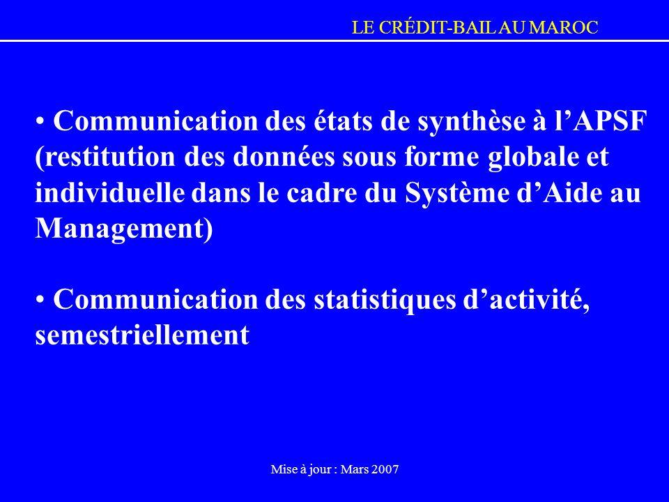 LE CRÉDIT-BAIL AU MAROC Mise à jour : Mars 2007 Communication des états de synthèse à lAPSF (restitution des données sous forme globale et individuell