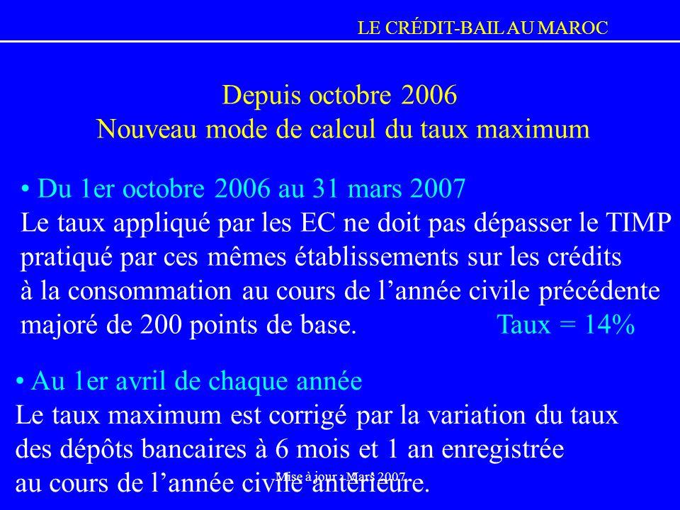 LE CRÉDIT-BAIL AU MAROC Mise à jour : Mars 2007 Du 1er octobre 2006 au 31 mars 2007 Le taux appliqué par les EC ne doit pas dépasser le TIMP pratiqué