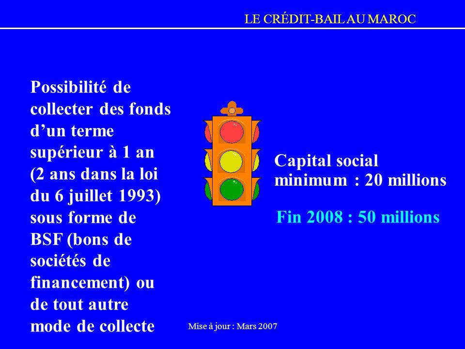 LE CRÉDIT-BAIL AU MAROC Mise à jour : Mars 2007 Possibilité de collecter des fonds dun terme supérieur à 1 an (2 ans dans la loi du 6 juillet 1993) so