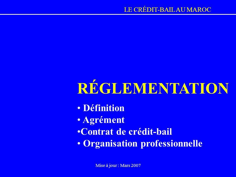LE CRÉDIT-BAIL AU MAROC Mise à jour : Mars 2007 RÉGLEMENTATION Définition Agrément Contrat de crédit-bail Organisation professionnelle