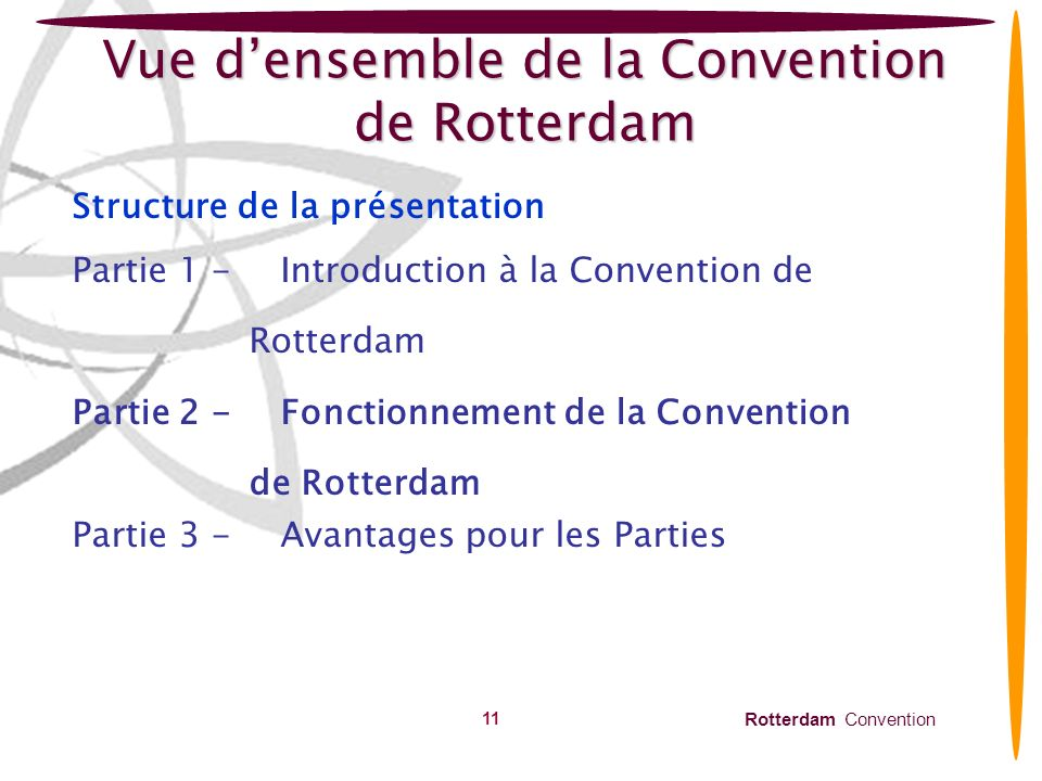 Rotterdam Convention 11 Vue densemble de la Convention de Rotterdam Structure de la présentation Partie 1 -Introduction à la Convention de Rotterdam P