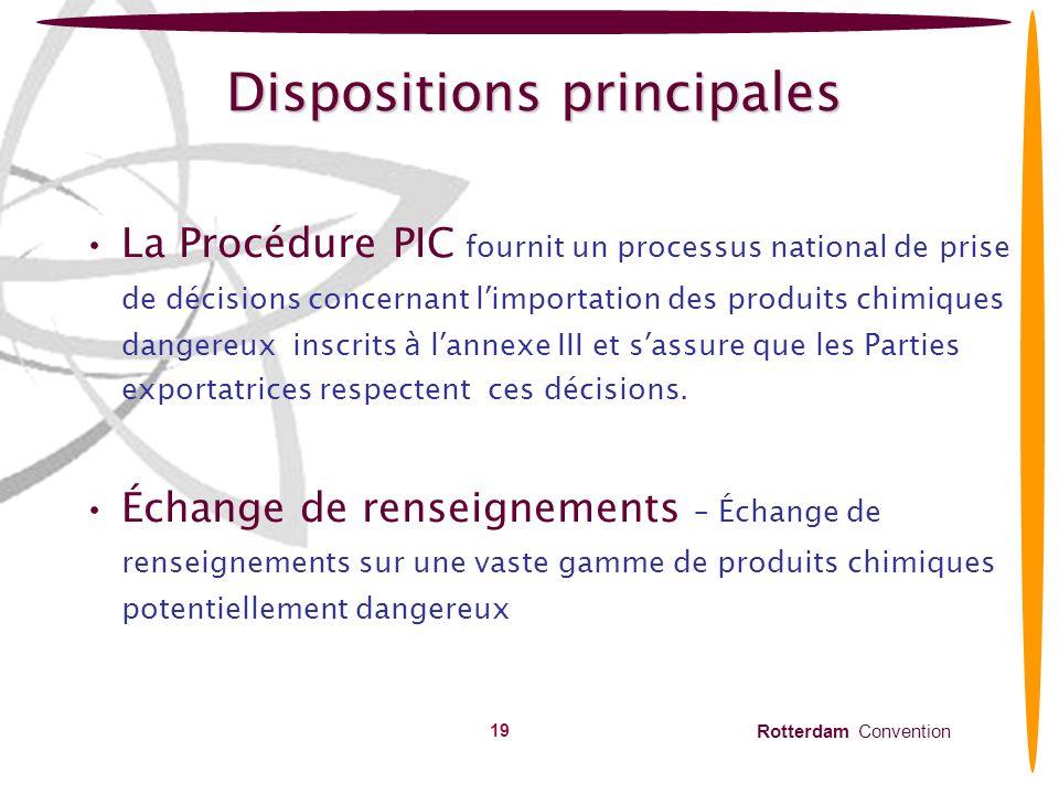 Rotterdam Convention 20 Dispositions clés : Procédure PIC Eléments principaux Documents dorientation des décisions (DGD) Réponse concernant limportation Circulaire PIC Responsabilités des Parties importatrices et exportatrices