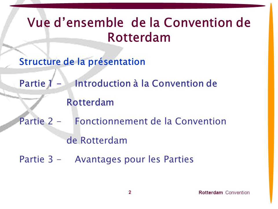 Rotterdam Convention 2 Vue densemble de la Convention de Rotterdam Structure de la présentation Partie 1 -Introduction à la Convention de Rotterdam Pa
