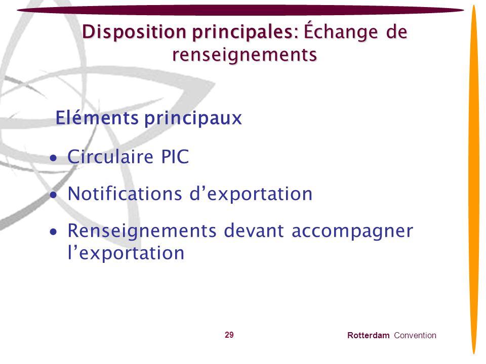 Rotterdam Convention 30 Disposition principale: Échange de renseignements Circulaire PIC (Articles10 & 11) publiée tous les six mois – juin et décembre, envoyée à toutes les ANDs et publiée sur le site web.