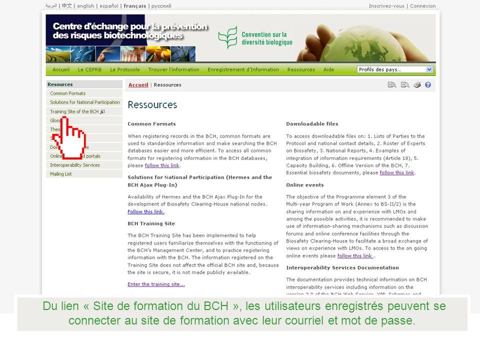 Du lien « Site de formation du BCH », les utilisateurs enregistrés peuvent se connecter au site de formation avec leur courriel et mot de passe.
