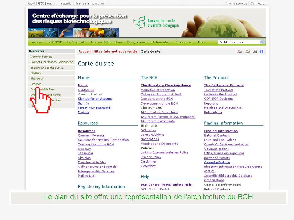 Le plan du site offre une représentation de l'architecture du BCH