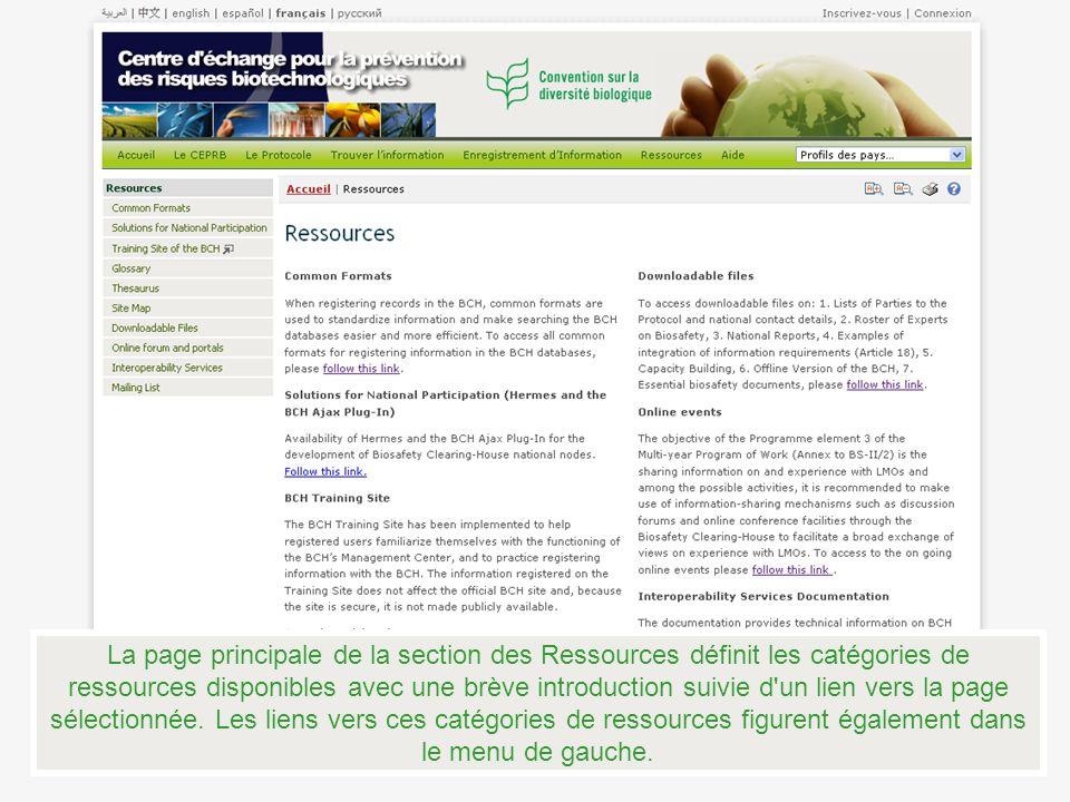 La page principale de la section des Ressources définit les catégories de ressources disponibles avec une brève introduction suivie d'un lien vers la