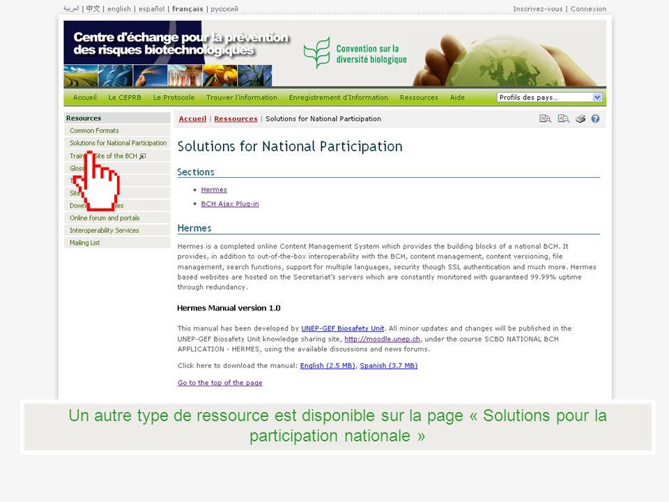 Un autre type de ressource est disponible sur la page « Solutions pour la participation nationale »