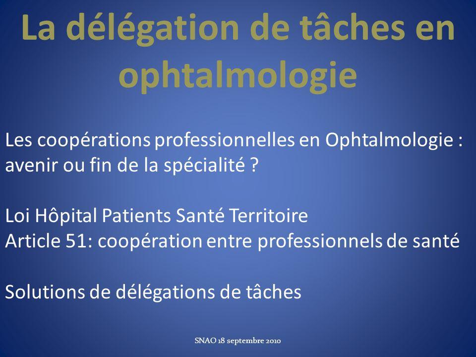 La délégation de tâches en ophtalmologie Les coopérations professionnelles en Ophtalmologie : avenir ou fin de la spécialité ? Loi Hôpital Patients Sa