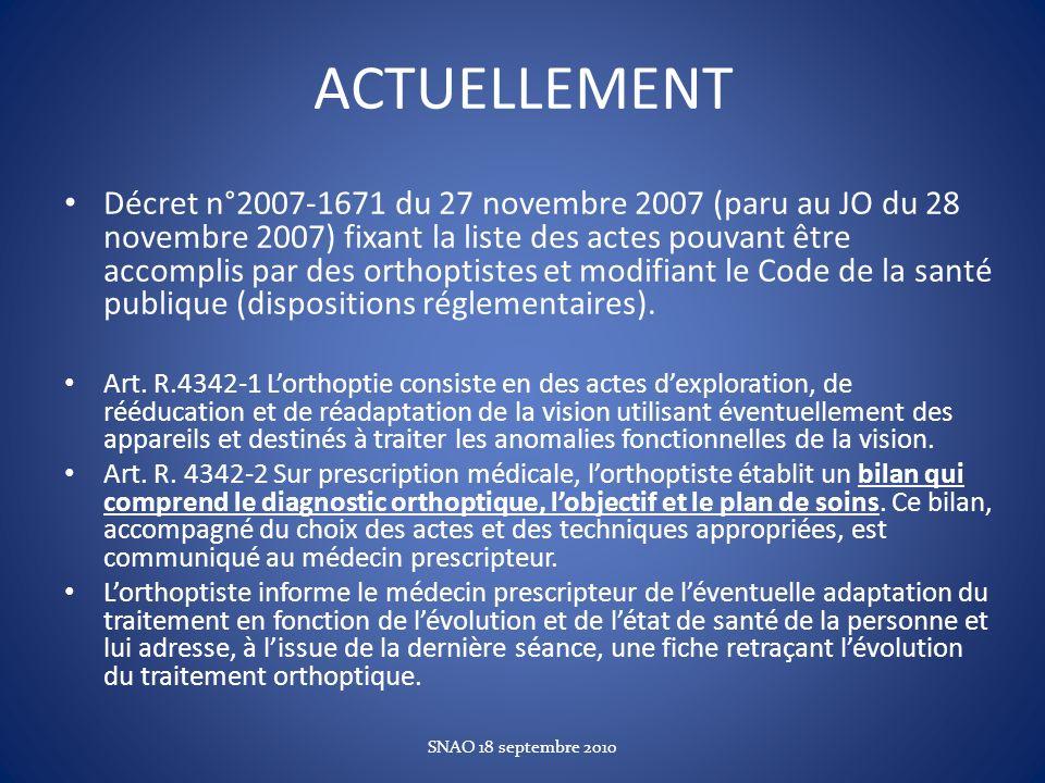 ACTUELLEMENT Décret n°20071671 du 27 novembre 2007 (paru au JO du 28 novembre 2007) fixant la liste des actes pouvant être accomplis par des orthoptis
