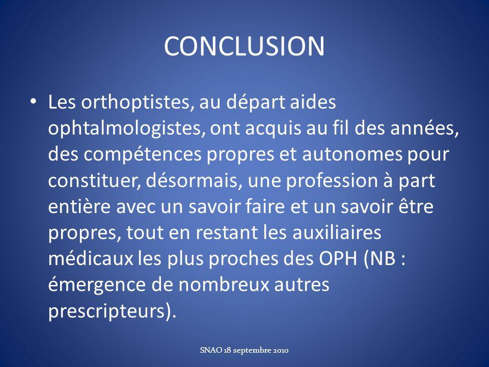 CONCLUSION Les orthoptistes, au départ aides ophtalmologistes, ont acquis au fil des années, des compétences propres et autonomes pour constituer, dés