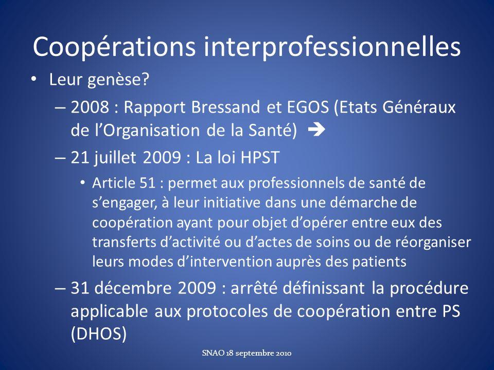 Coopérations interprofessionnelles Leur genèse? – 2008 : Rapport Bressand et EGOS (Etats Généraux de lOrganisation de la Santé) – 21 juillet 2009 : La