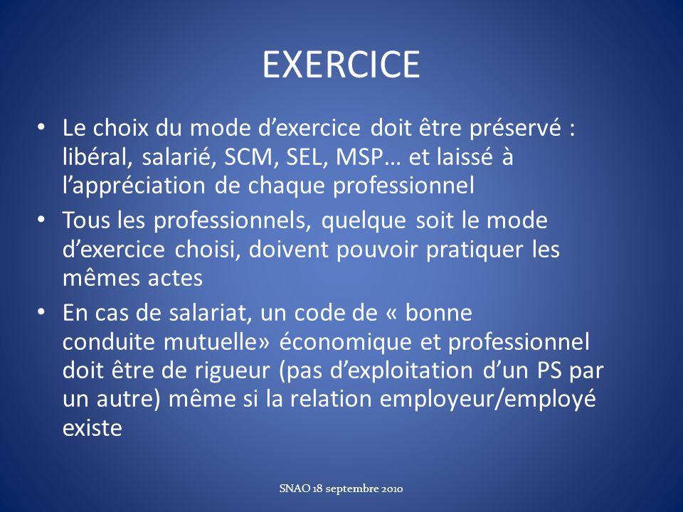 EXERCICE Le choix du mode dexercice doit être préservé : libéral, salarié, SCM, SEL, MSP… et laissé à lappréciation de chaque professionnel Tous les p