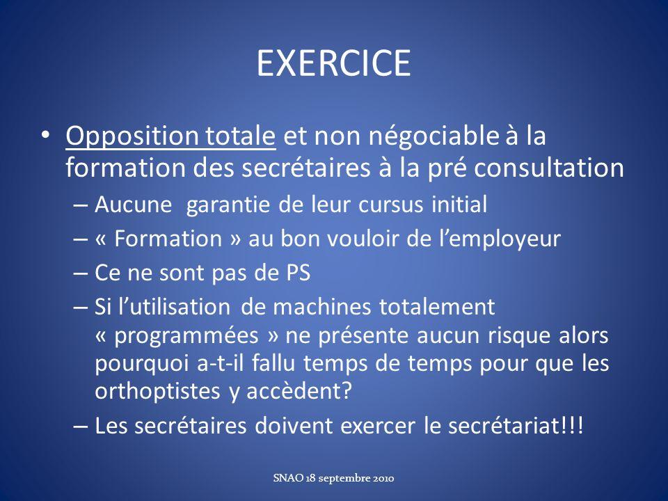 EXERCICE Opposition totale et non négociable à la formation des secrétaires à la pré consultation – Aucune garantie de leur cursus initial – « Formati