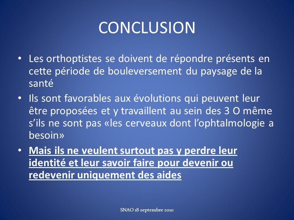 CONCLUSION Les orthoptistes se doivent de répondre présents en cette période de bouleversement du paysage de la santé Ils sont favorables aux évolutio
