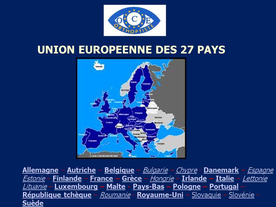 UNION EUROPEENNE DES 27 PAYS AllemagneAllemagne – Autriche – Belgique – Bulgarie – Chypre - Danemark – Espagne Estonie – Finlande – France – Grèce – H
