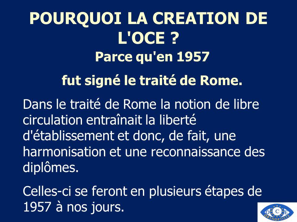 POURQUOI LA CREATION DE L'OCE ? Parce qu'en 1957 fut signé le traité de Rome. Dans le traité de Rome la notion de libre circulation entraînait la libe