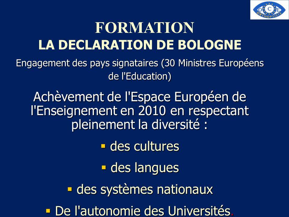 FORMATION LA DECLARATION DE BOLOGNE Engagement des pays signataires (30 Ministres Européens de l'Education) Achèvement de l'Espace Européen de l'Ensei