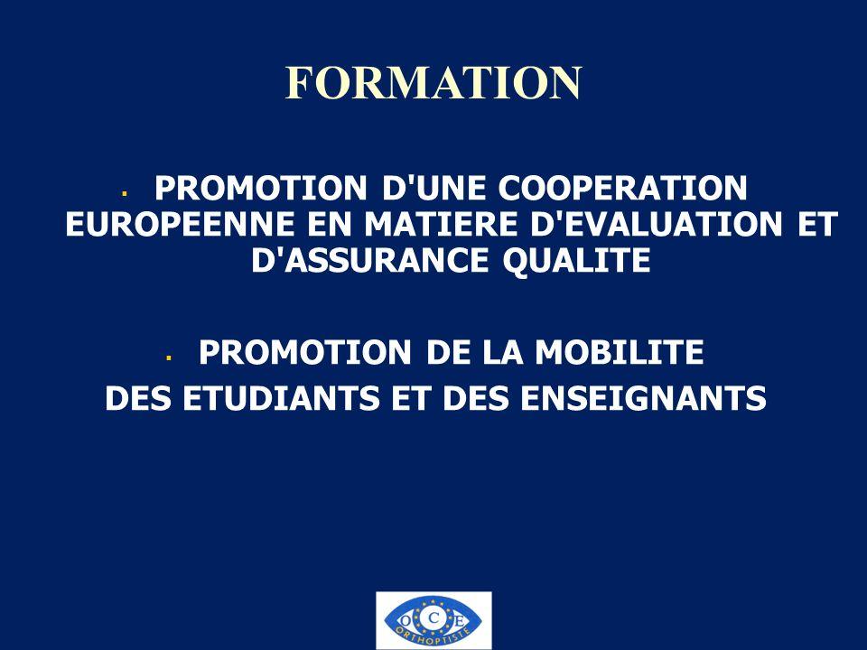 FORMATION PROMOTION D'UNE COOPERATION EUROPEENNE EN MATIERE D'EVALUATION ET D'ASSURANCE QUALITE PROMOTION DE LA MOBILITE DES ETUDIANTS ET DES ENSEIGNA
