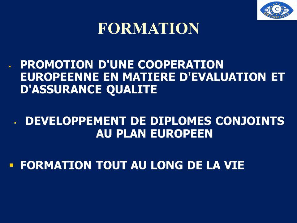 FORMATION PROMOTION D'UNE COOPERATION EUROPEENNE EN MATIERE D'EVALUATION ET D'ASSURANCE QUALITE DEVELOPPEMENT DE DIPLOMES CONJOINTS AU PLAN EUROPEEN F