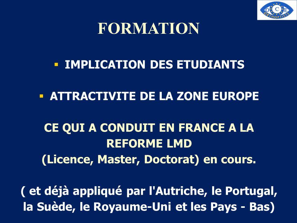 FORMATION IMPLICATION DES ETUDIANTS ATTRACTIVITE DE LA ZONE EUROPE CE QUI A CONDUIT EN FRANCE A LA REFORME LMD (Licence, Master, Doctorat) en cours. (