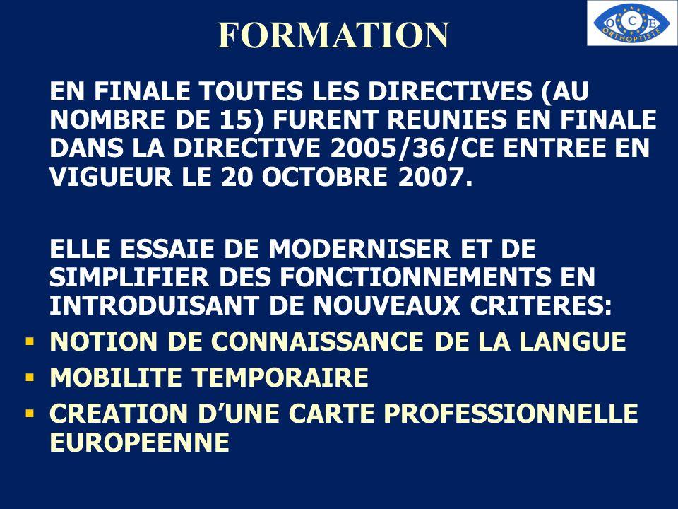FORMATION EN FINALE TOUTES LES DIRECTIVES (AU NOMBRE DE 15) FURENT REUNIES EN FINALE DANS LA DIRECTIVE 2005/36/CE ENTREE EN VIGUEUR LE 20 OCTOBRE 2007