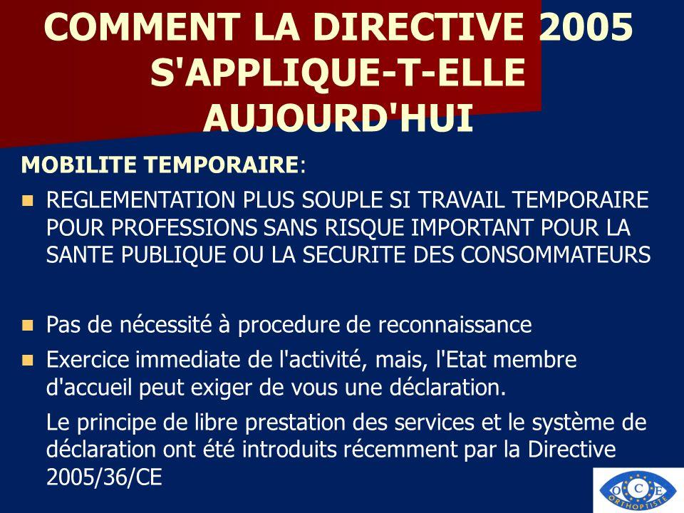 COMMENT LA DIRECTIVE 2005 S'APPLIQUE-T-ELLE AUJOURD'HUI MOBILITE TEMPORAIRE: REGLEMENTATION PLUS SOUPLE SI TRAVAIL TEMPORAIRE POUR PROFESSIONS SANS RI