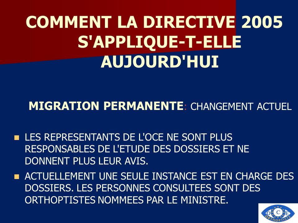 COMMENT LA DIRECTIVE 2005 S'APPLIQUE-T-ELLE AUJOURD'HUI MIGRATION PERMANENTE : CHANGEMENT ACTUEL LES REPRESENTANTS DE L'OCE NE SONT PLUS RESPONSABLES