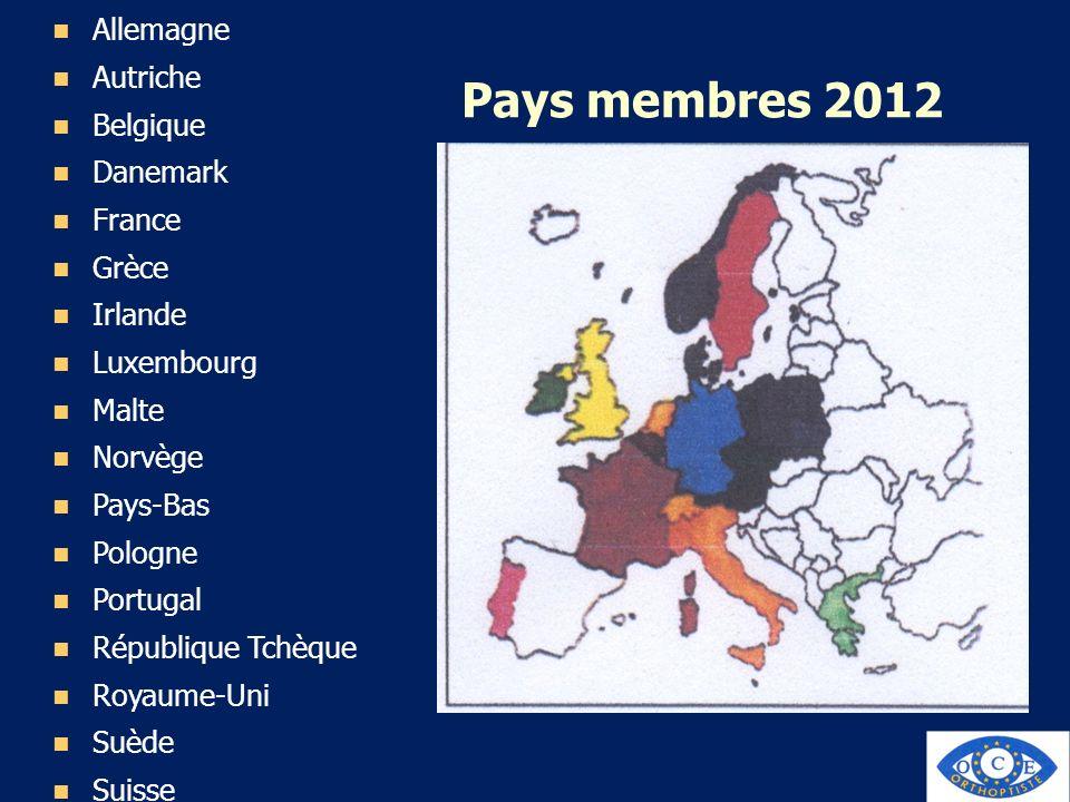 Pays membres 2012 Allemagne Autriche Belgique Danemark France Grèce Irlande Luxembourg Malte Norvège Pays-Bas Pologne Portugal République Tchèque Roya