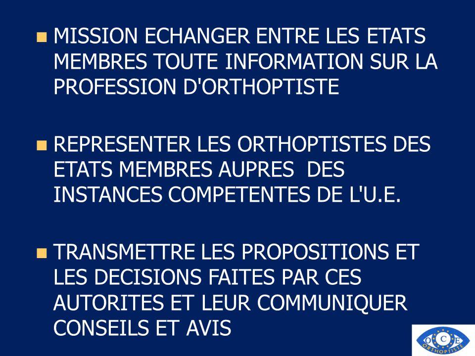 MISSION ECHANGER ENTRE LES ETATS MEMBRES TOUTE INFORMATION SUR LA PROFESSION D'ORTHOPTISTE REPRESENTER LES ORTHOPTISTES DES ETATS MEMBRES AUPRES DES I