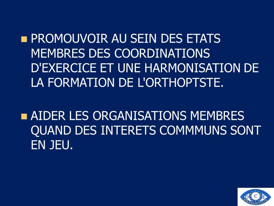 PROMOUVOIR AU SEIN DES ETATS MEMBRES DES COORDINATIONS D'EXERCICE ET UNE HARMONISATION DE LA FORMATION DE L'ORTHOPTSTE. AIDER LES ORGANISATIONS MEMBRE