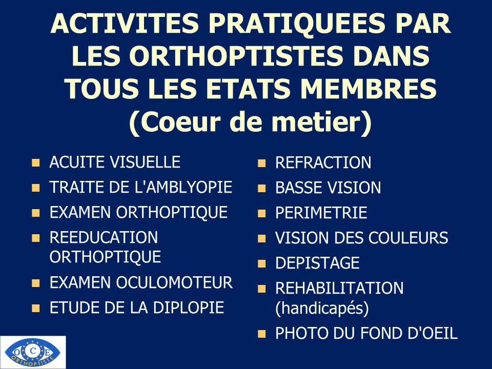 ACTIVITES PRATIQUEES PAR LES ORTHOPTISTES DANS TOUS LES ETATS MEMBRES (Coeur de metier) ACUITE VISUELLE TRAITE DE L'AMBLYOPIE EXAMEN ORTHOPTIQUE REEDU