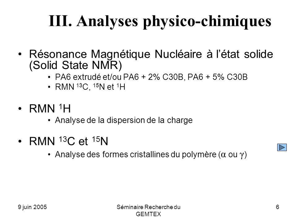 9 juin 2005Séminaire Recherche du GEMTEX 6 III. Analyses physico-chimiques Résonance Magnétique Nucléaire à létat solide (Solid State NMR) PA6 extrudé
