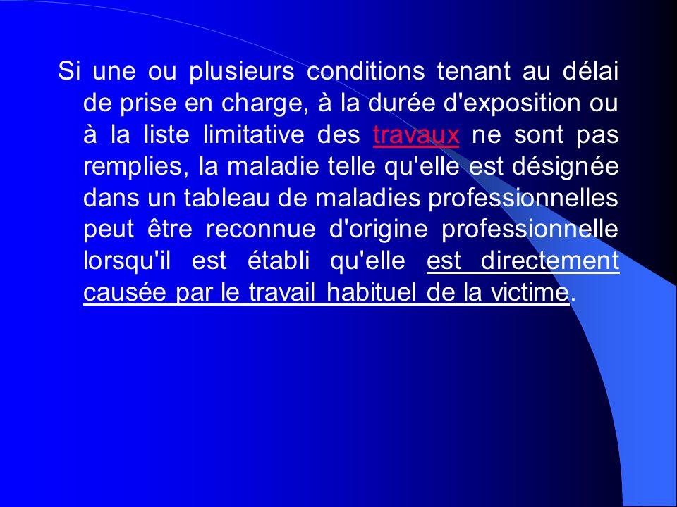 Si une ou plusieurs conditions tenant au délai de prise en charge, à la durée d'exposition ou à la liste limitative des travaux ne sont pas remplies,