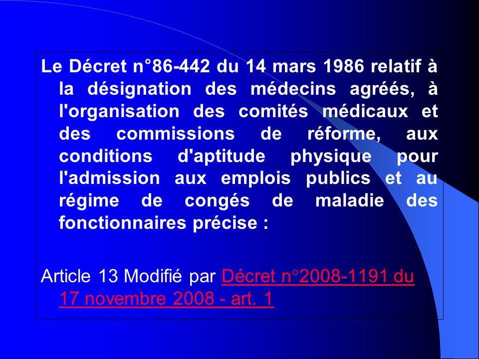 Le Décret n°86-442 du 14 mars 1986 relatif à la désignation des médecins agréés, à l'organisation des comités médicaux et des commissions de réforme,