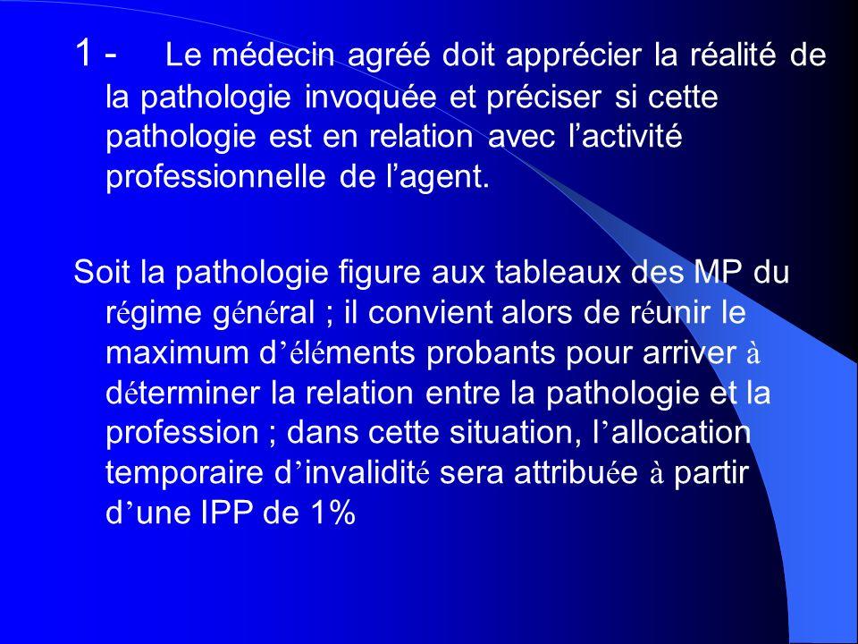 1 - Le médecin agréé doit apprécier la réalité de la pathologie invoquée et préciser si cette pathologie est en relation avec lactivité professionnell
