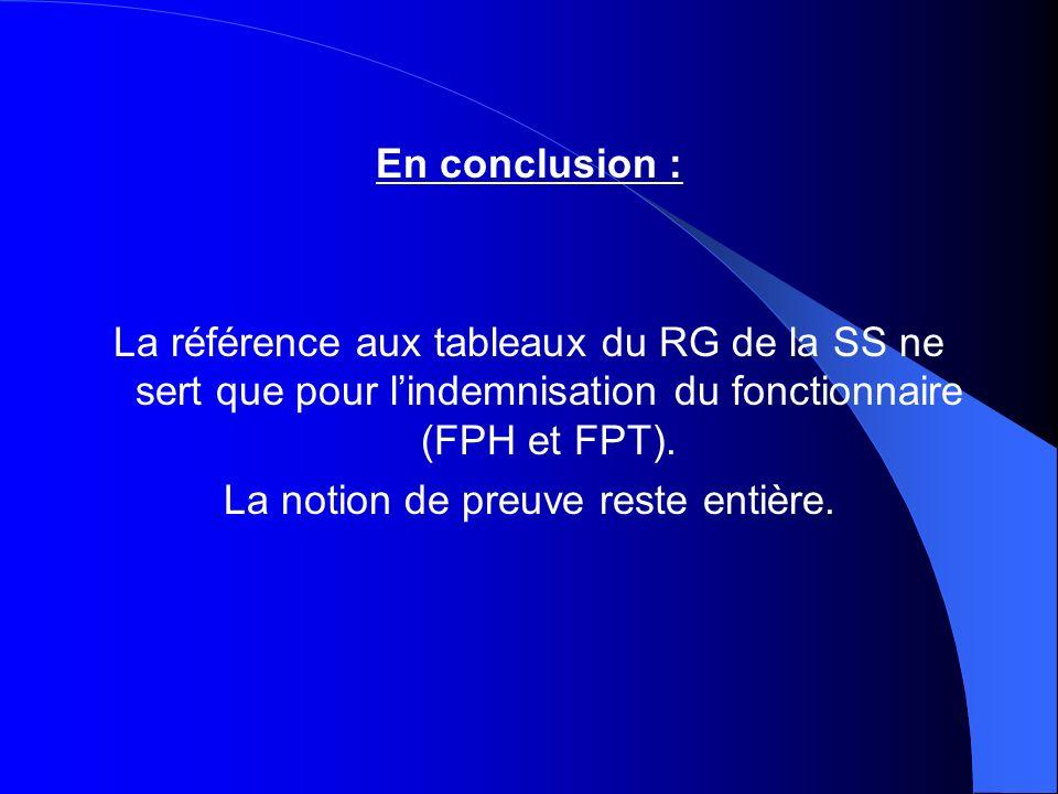 En conclusion : La référence aux tableaux du RG de la SS ne sert que pour lindemnisation du fonctionnaire (FPH et FPT). La notion de preuve reste enti
