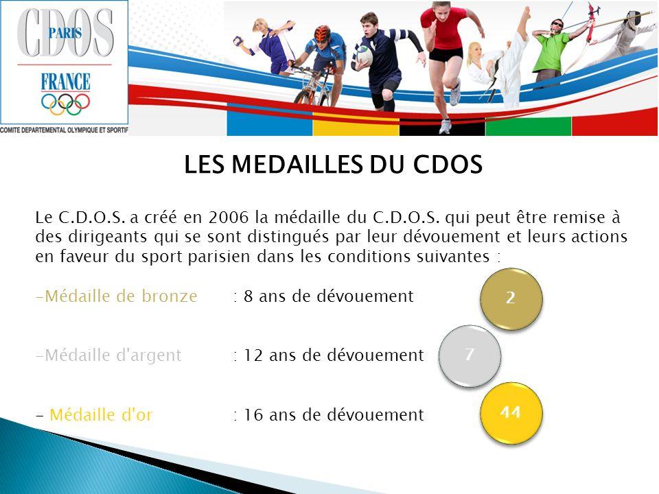 LES MEDAILLES DU CDOS Le C.D.O.S. a créé en 2006 la médaille du C.D.O.S. qui peut être remise à des dirigeants qui se sont distingués par leur dévouem