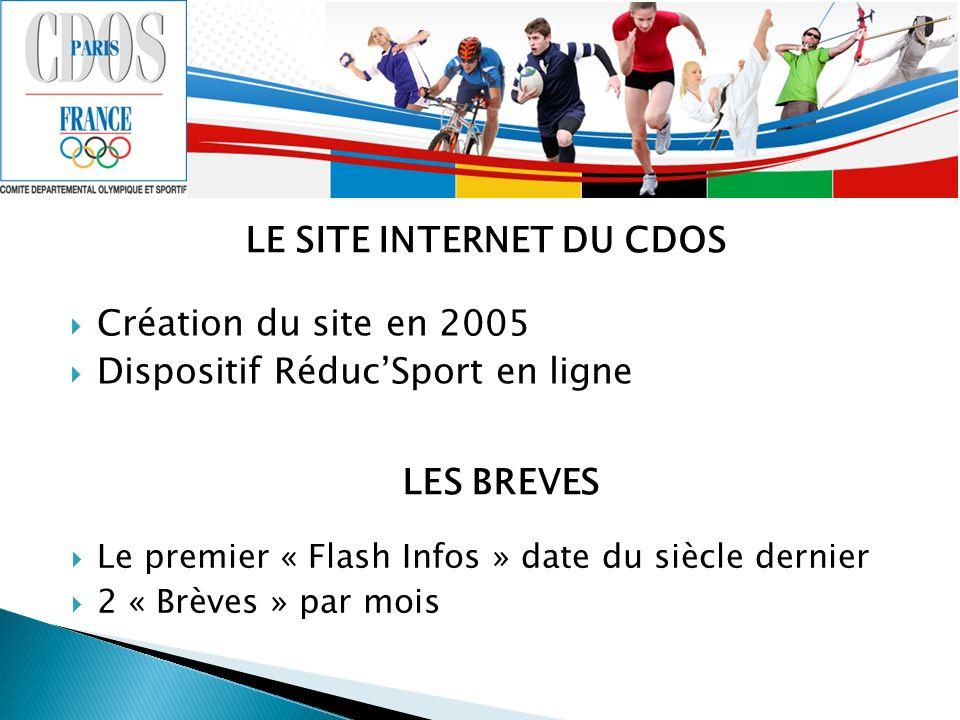 LE SITE INTERNET DU CDOS Création du site en 2005 Dispositif RéducSport en ligne LES BREVES Le premier « Flash Infos » date du siècle dernier 2 « Brèv