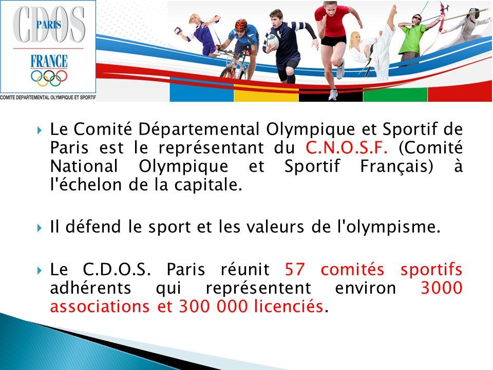 Le Comité Départemental Olympique et Sportif de Paris est le représentant du C.N.O.S.F. (Comité National Olympique et Sportif Français) à l'échelon de