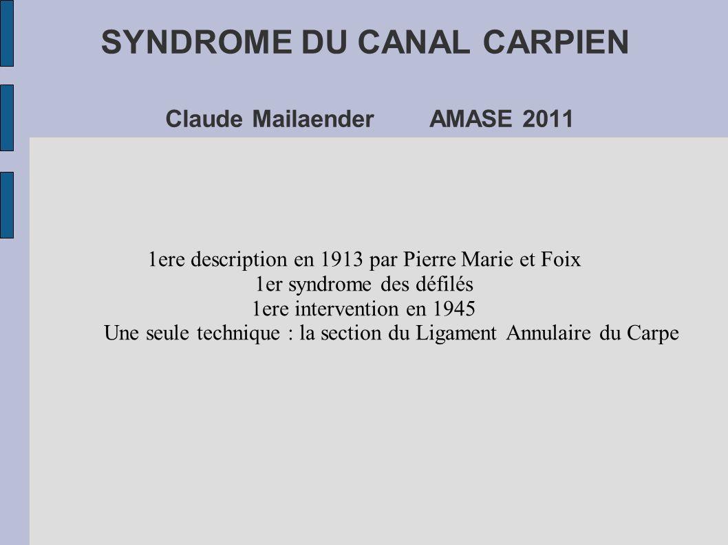 SYNDROME DU CANAL CARPIEN Claude Mailaender AMASE 2011 1ere description en 1913 par Pierre Marie et Foix 1er syndrome des défilés 1ere intervention en