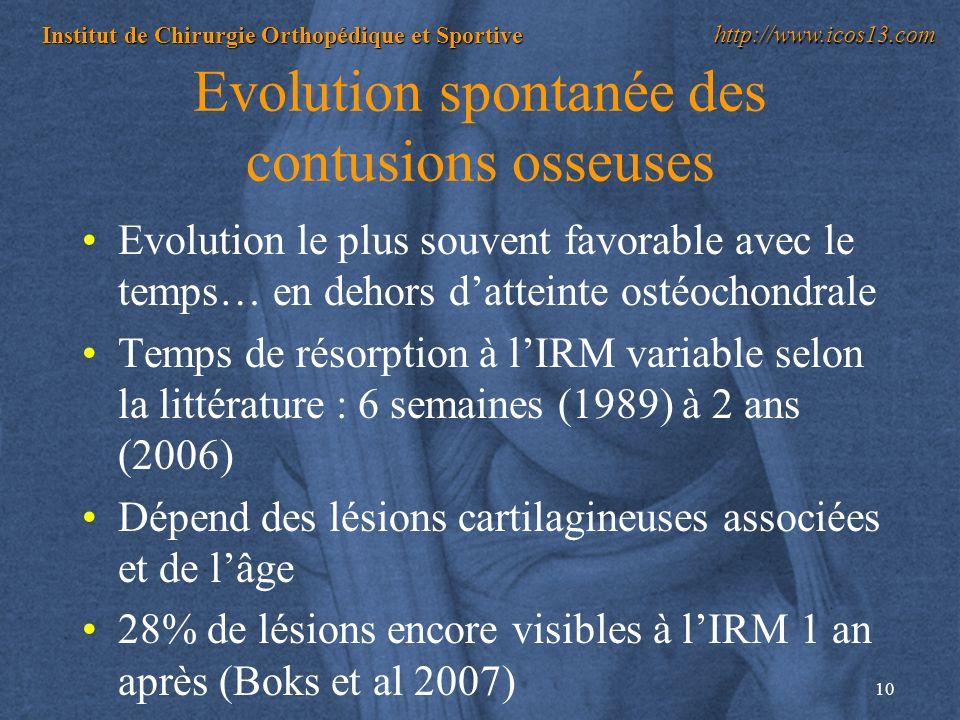 10 Institut de Chirurgie Orthopédique et Sportive http://www.icos13.com Evolution spontanée des contusions osseuses Evolution le plus souvent favorabl