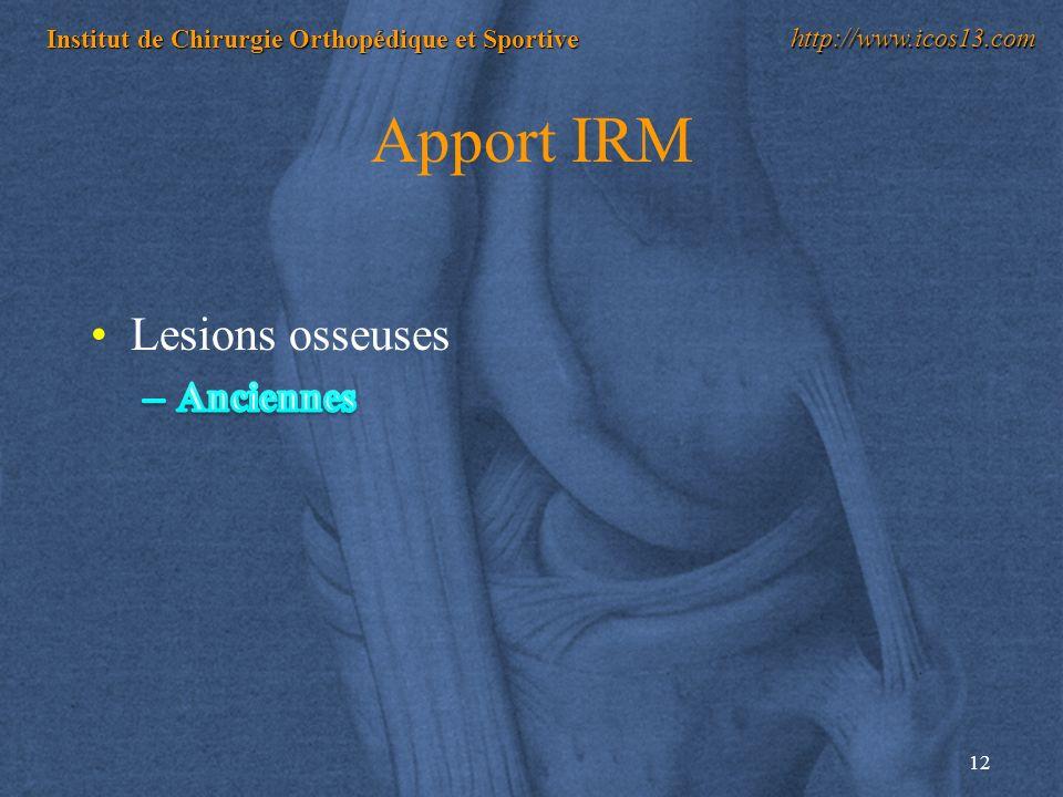 12 Institut de Chirurgie Orthopédique et Sportive http://www.icos13.com Apport IRM