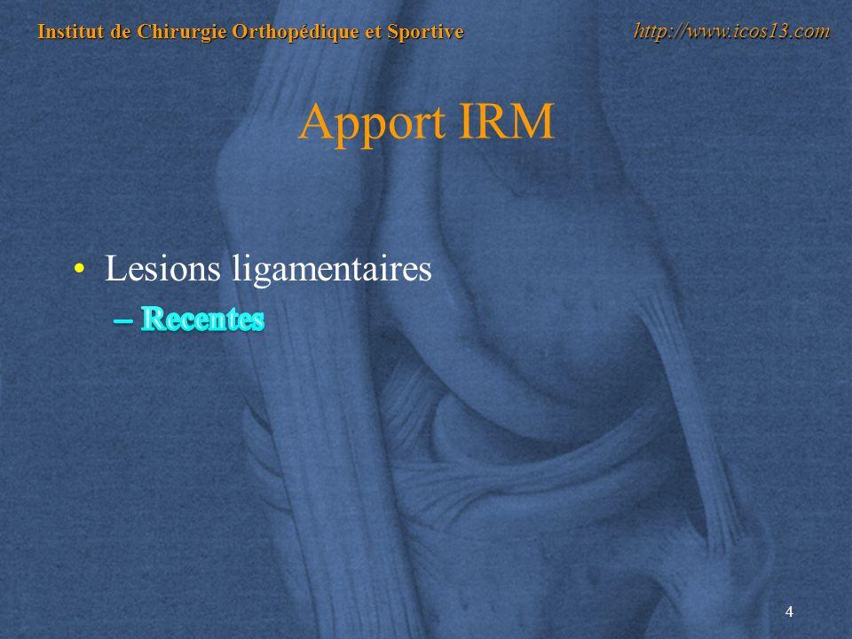 4 Institut de Chirurgie Orthopédique et Sportive http://www.icos13.com Apport IRM