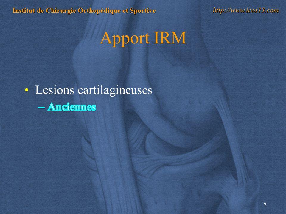 7 Institut de Chirurgie Orthopédique et Sportive http://www.icos13.com Apport IRM